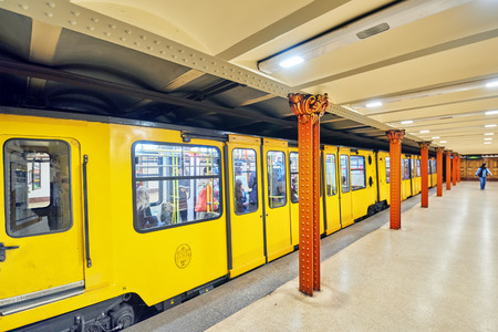 BUDAPEST, HANGARY-MAY 02, 2016: Interior of metro station in Budapest. Yellow (1 line) it is the oldest electrified underground railway system on the European continent.