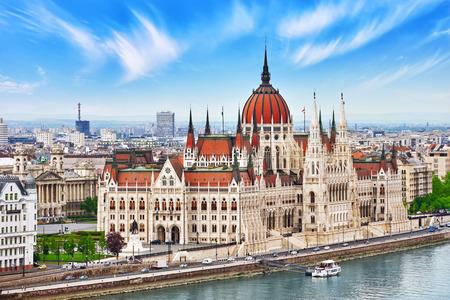 fisherman bastion: Hungarian Parliament at daytime. Budapest. View from Old Fisherman Bastion. Hungary.