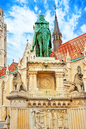 fisherman bastion: BUDAPEST, HUNGARY-MAY 03, 2016: View on the Old Fisherman Bastion in Budapest. Statue Saint Istvan and people near. Hungary.