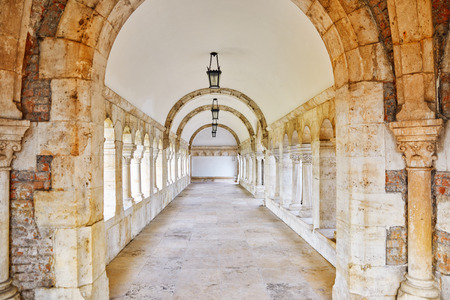 halaszbastya: View on the Old Fisherman Bastion in Budapest. Arch Gallery.