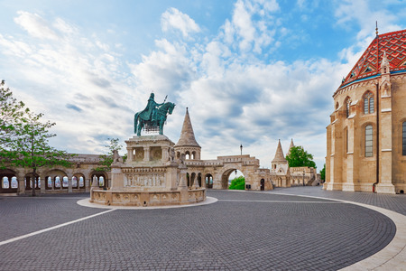 fisherman bastion: View on the Old Fisherman Bastion in Budapest. Statue Saint Istvan