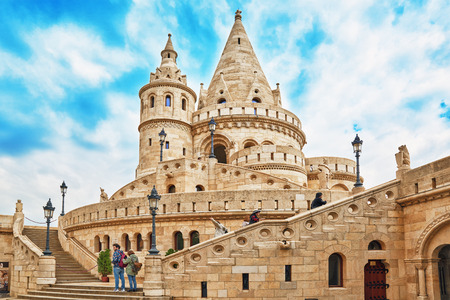 halaszbastya: BUDAPEST, HUNGARY-MAY 03, 2016 :View on the Old Fishermen Bastion with tourists  in Budapest at morning time. Hungary.