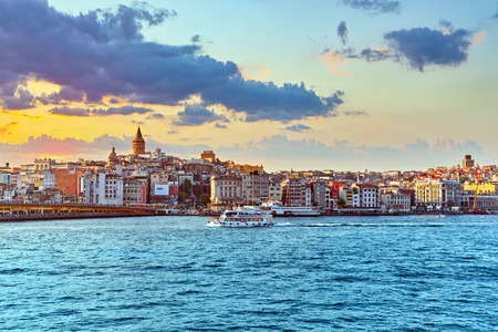 constantinople ancient: ISTAMBUL,TURKEY-MAY 07, 2016: Istanbul View of the sunset in the rays of the sun. Istanbul is the largest city in Turkey. Editorial