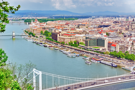 Panorama View on Elisabeth Bridge and Budapest,bridge connecting Buda and Pest across the River Danube. Stock Photo