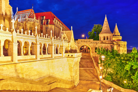 fisherman bastion: View on the Old Fisherman Bastion in Budapest. Night time. Stock Photo