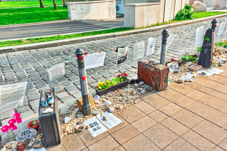 gabriel: BUDAPEST, HUNGARY-MAY 04, 2016: Liberty Square Budapest-Memorial dedicated to the victims of Nazi Occupation during the Second World War in Budapest, Hungary.