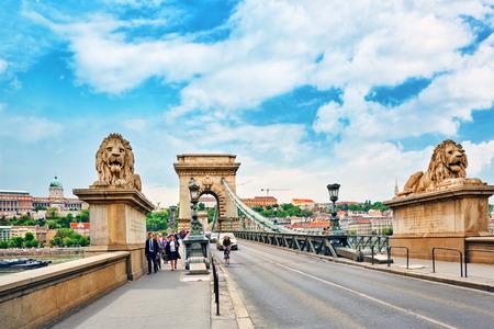 szechenyi: BUDAPEST, HUNGARY-MAY 02, 2016: Szechenyi Chain Bridge-one of the most beautiful bridges of Budapest with people on him. Editorial