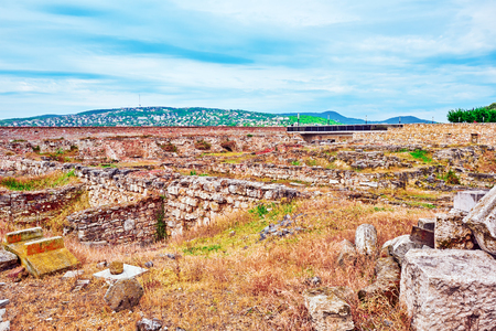 real renaissance: Real Ruins of the Royal Palace of Sigismund times.Budapest. Hungary. Stock Photo