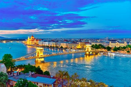 szechenyi: Szechenyi Chain Bridge and Parliament at dusk from Fisherman Bastion. Budapest, Hungary.