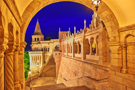 bastion: View on the Old Fisherman Bastion in Budapest. Night time. Stock Photo