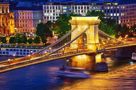szechenyi: Szechenyi Chain Bridge view from Buda Hill at dusk. Budapest, Hungary. Stock Photo