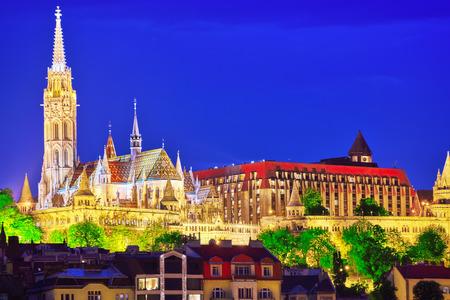 matthias: Church of St. Matthias ,Fishermans Bastion- shore views of the Danube .Budapest. Hungary. Stock Photo