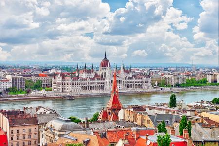 fisherman bastion: Panorama View on Budapest city from Fisherman Bastion. Hungary. Stock Photo