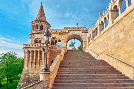 halaszbastya: View on the Old Fishermen Bastion in Budapest at morning time. Hungary. Editorial