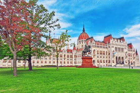 BUDAPEST, HUNGARY-MAY 04, 2016: Hungarian Parliament Main Entrance. Panoramic view. Hungary.