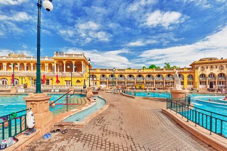 szechenyi: BUDAPEST, HUNGARY- MAY 05,2016: Courtyard of Szechenyi Baths, Hungarian thermal bath complex and spa treatments.