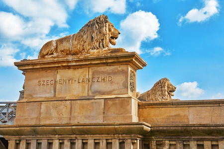 Lion on the Szechenyi Chain Bridge at morning time. Budapest, Hungary Editorial