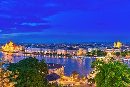 fisherman bastion: Szechenyi Chain Bridge and Parliament at dusk from Fisherman Bastion. Budapest, Hungary.