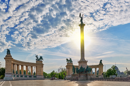 BUDAPEST, HUNGARY- MAY 05, 2016: Heroes Square-is one of the major squares in Budapest, Hungary, statue Seven Chieftains of the Magyars and other important national leaders. Editorial