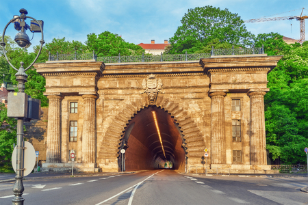 vaulting: Road Tunnel near Funicular to Royal Castle Hill. Budapest. Hungary.
