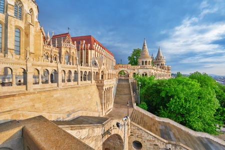 halaszbastya: View on the Old Fishermen Bastion in Budapest at morning time. Hungary. Stock Photo