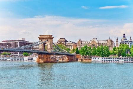 szechenyi: Szechenyi Chain Bridge at morning time. Budapest, Hungary. Stock Photo