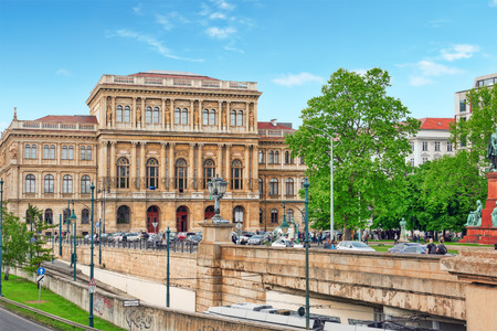 prestigious: BUDAPEST, HUNGARY-MAY 02, 2016: Hungarian Academy of Sciences-is the most important and prestigious learned society of Hungary. Its seat is at the bank of the Danube in Budapest.