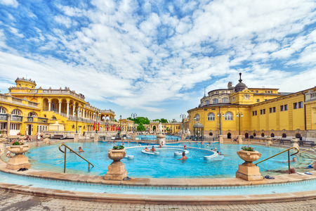 BUDAPEST, HUNGARY- MAY 05,2016: Courtyard of Szechenyi Baths, Hungarian thermal bath complex and spa treatments.