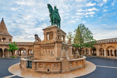 halaszbastya: View on the Old Fisherman Bastion in Budapest. Statue Saint Istvan