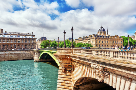 changed: PARIS, FRANCE- JULY 04, 2016 : River Seine, Registry of the Paris Commercial Court and Bridge of Changed in Paris. France.