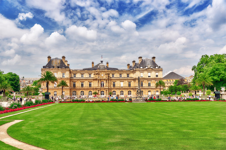 PARIS, FRANCE - JULY 08, 2016 : Luxembourg Palace and park in Paris, the Jardin du Luxembourg, one of the most beautiful gardens in Paris. France. Editorial