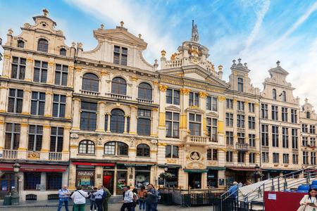 guildhalls: BRUSSELS, BELGIUM - JULY 07, 2016 : Grand Place (Grote Markt) - central square of Brussels. It is surrounded by  guildhalls and two larger edifices, citys Town Hall, Breadhouse. Brussel.