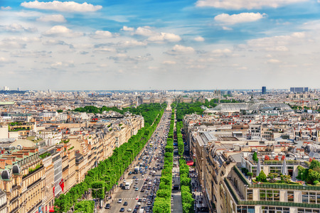 champs elysees: PARIS, FRANCE - JULY 06, 2016 :Beautiful panoramic view of Paris from the roof of the Triumphal Arch. Champs Elysees.
