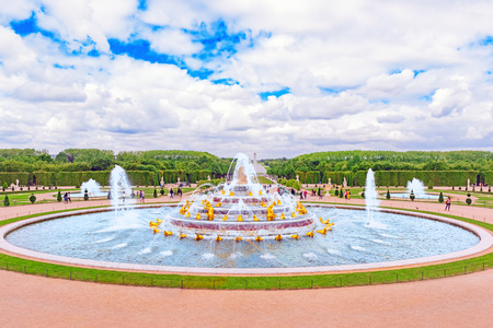 Latona Fountain Pool, opposite the main building of the Palace of Versailles, created  by Sun-King Louis XIV.