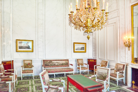emperors: FONTAINEBLEAU, FRANCE - JULY 09, 2016 : Fontainebleau Palace interiors. Room of the Emperors Aides de camp. Chateau was one of the main palaces of French kings.