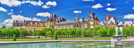 back yard pond: Suburban Residence of the France Kings - beautiful Chateau Fontainebleau with the fountain on foreground.