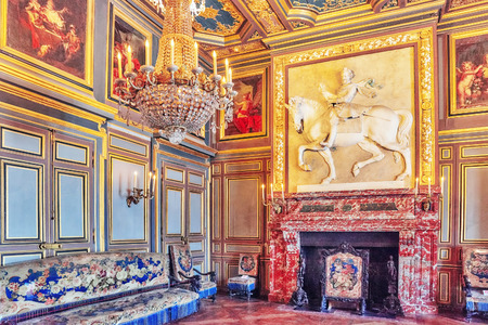 FONTAINEBLEAU, FRANCE - JULY 09, 2016 : Fontainebleau Palace interiors. The First Saint-Louis Room. Chateau was one of the main palaces of French kings.