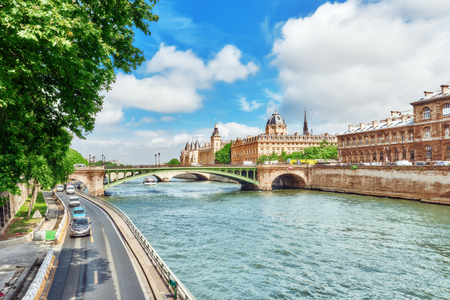 changed: River Seine, Registry of the Paris Commercial Court and Bridge of Changed in Paris. France.