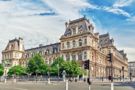 PARIS, FRANCE - JULY 08, 2016 : Hotel de Ville in Paris, is the building housing citys local administration,it has been the headquarters of the municipality  since 1357. France.