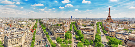 champs: Beautiful panoramic view of Paris from the roof of the Triumphal Arch. Champs Elysees and the Eiffel Tower.