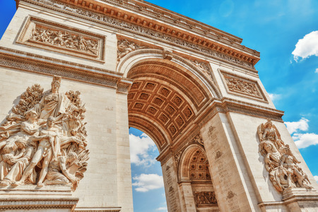 Moldings and decorations on the Arc de Triomphe in  Paris. France. Editorial