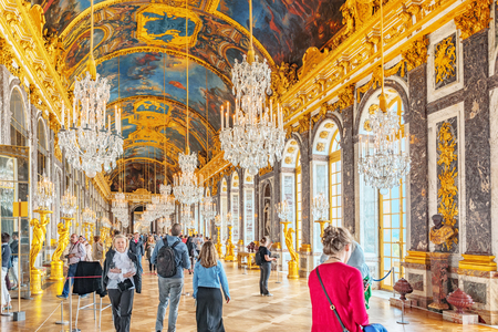 VERSAILLES, FRANCE - JULY 02, 2016 : Hall of Mirrors(Galerie des Glaces )- is the palace's most celebrated room. Setting for many of the ceremonies.Chateau de Versailles.