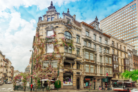 twined: BRUSSELS, BELGIUM - JULY 07, 2016 : Entangled flowers House in the center of the Bulgarian capital Brussels.