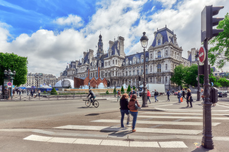 ville: PARIS, FRANCE - JULY 04, 2016 : Hotel de Ville in Paris, is the building housing citys local administration,it has been the headquarters of the municipality  since 1357. France. Editorial
