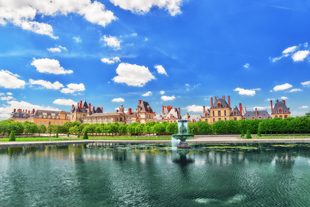back alley: Suburban Residence of the France Kings - beautiful Chateau Fontainebleau with the fountain on foreground.