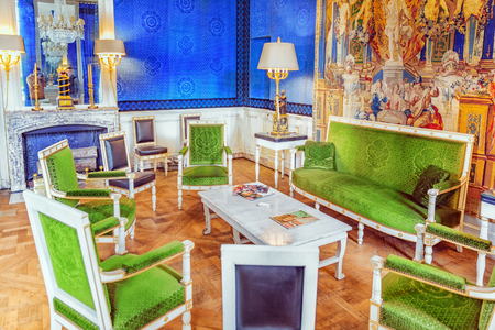 empress: VERSAILLES, FRANCE - JULY 02, 2016 : Grand Empress green cabinet in the Grand Trianon. Chateau de Versailles.