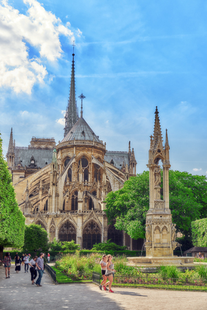PARIS, FRANCE - JULY 06, 2016 : Notre Dame de Paris Cathedral, most beautiful Cathedral in Paris. East side of the Cathedral. France.