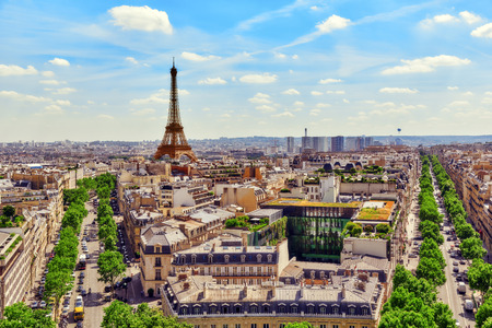 Beautiful panoramic view of Paris from the roof of the Triumphal Arch. View of the Eiffel Tower.