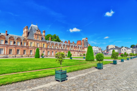 Suburban Residence of the France Kings - beautiful Chateau Fontainebleau and surrounding his park. Editorial
