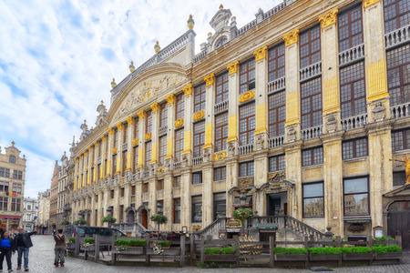 edifices: BRUSSELS, BELGIUM - JULY 07, 2016 : Grand Place (Grote Markt) - central square of Brussels. It is surrounded by  guildhalls and two larger edifices, citys Town Hall, Breadhouse. Brussel.